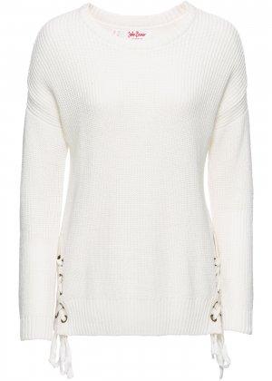 Пуловер со шнуровкой bonprix. Цвет: белый
