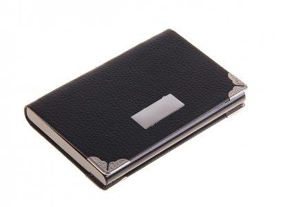 Визитница с металлической вставкой и уголками, цвет чёрный, горизонтальная Calligrata