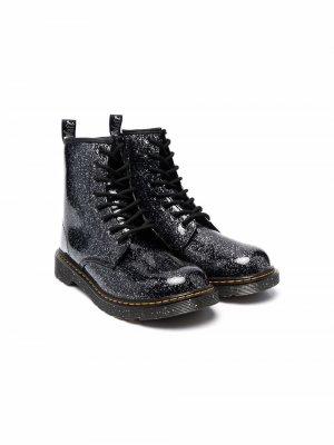 Ботинки с блестками Dr. Martens Kids. Цвет: черный