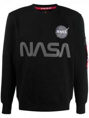 Толстовка со светоотражающим принтом NASA Alpha Industries. Цвет: черный
