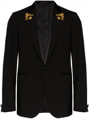 Однобортный пиджак с вышивкой Baroque Versace. Цвет: черный