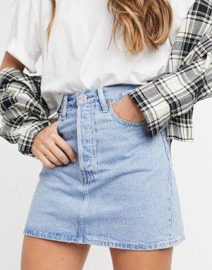 Выбеленная джинсовая юбка Levis Ribcage-Синий Levi's
