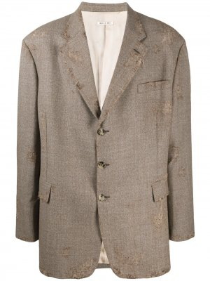 Пиджак оверсайз с эффектом потертости Marni. Цвет: коричневый
