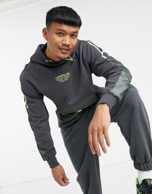 Худи черного цвета с карманом Caterpillar tech-Черный цвет Cat Footwear