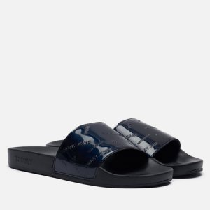 Женские сланцы Embossed Patent Slide Tommy Jeans. Цвет: чёрный