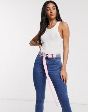 Розовый плетеный ремень для джинсов ASOS DESIGN-Розовый цвет