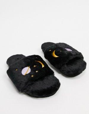 Черные слиперы с планетами из переработанного искусственного меха Cosy-Черный Monki
