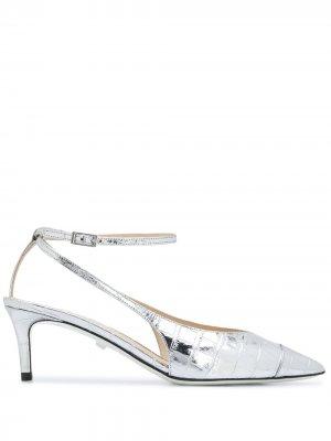 Туфли-лодочки с эффектом металлик и заостренным носком Grey Mer. Цвет: серебристый