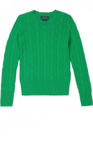 Кашемировый джемпер фактурной вязки Polo Ralph Lauren. Цвет: зелёный