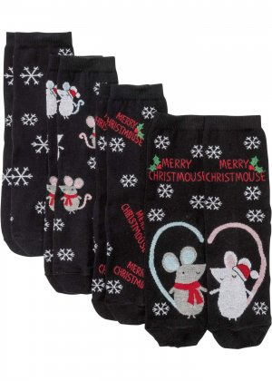 Носки унисекс (4 пары) с открыткой bonprix. Цвет: черный