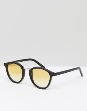 Солнцезащитные очки в круглой черной оправе Nalta Monokel Eyewear. Цвет: черный