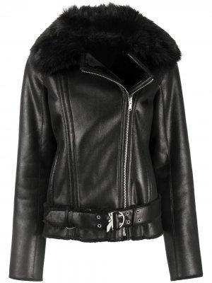 Байкерская куртка из шерпы Patrizia Pepe. Цвет: черный
