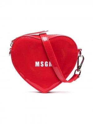 Heart-shape logo shoulder bag Msgm Kids. Цвет: красный