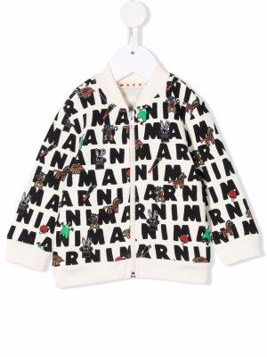 Graphic logo-print bomber jacket Marni Kids. Цвет: белый