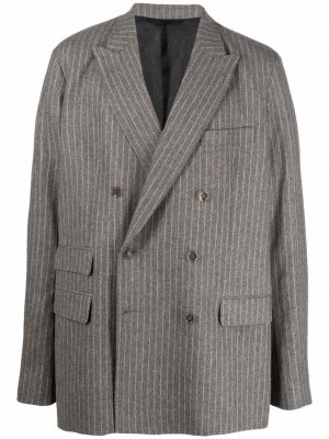 Двубортный пиджак в полоску Acne Studios. Цвет: серый