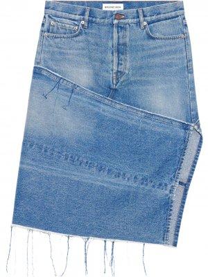 Джинсовая юбка с карманами и разрезом Balenciaga. Цвет: синий