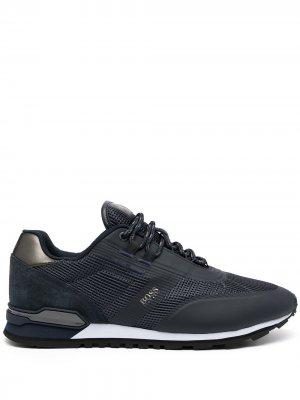 Panelled low-top leather sneakers BOSS. Цвет: синий