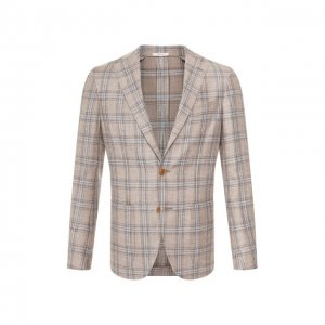 Пиджак из смеси шерсти и шелка Luciano Barbera. Цвет: бежевый