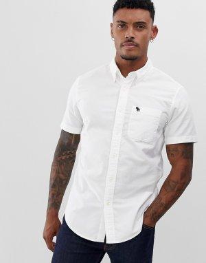 Белая оксфордская рубашка с короткими рукавами Abercrombie & Fitch