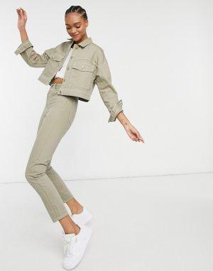 Шалфейно-зеленые прямые джинсы от комплекта Nora-Зеленый цвет Dr Denim
