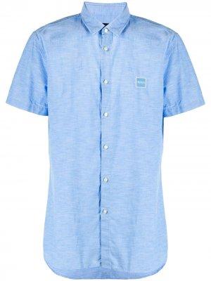 Рубашка с короткими рукавами и нашивкой-логотипом BOSS. Цвет: синий