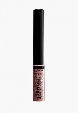 Подводка для глаз Nyx Professional Makeup Glitter Goals Liquid Eyeliner, оттенок 03, Quartzy, 4 мл. Цвет: золотой