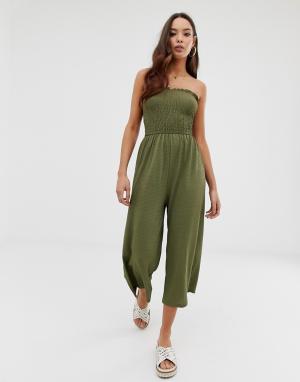 Зеленый пляжный комбинезон бандо с широкими штанинами Miss Selfridge