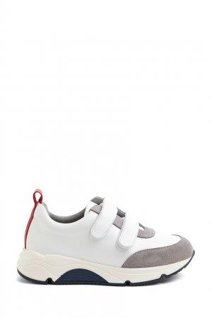 Серые кожаные кроссовки Jumps Bonpoint. Цвет: серый