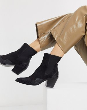 Черные ботинки челси в ковбойском стиле на каблуке -Черный Stradivarius