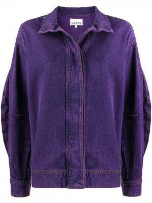 Джинсовая куртка с пышными рукавами GANNI. Цвет: фиолетовый