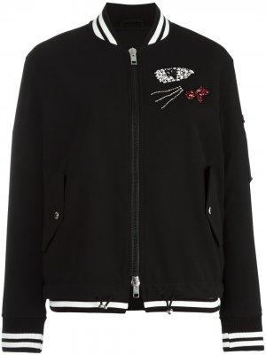 Декорированная куртка бомбер Ermanno Scervino. Цвет: черный
