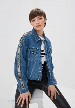 Куртка джинсовая Karl Lagerfeld Denim. Цвет: синий