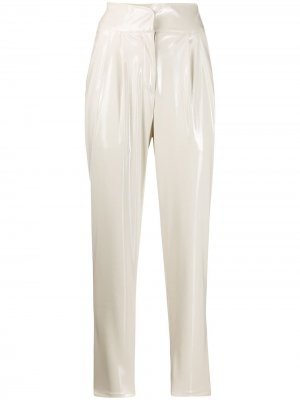 Зауженные брюки с завышенной талией Laneus. Цвет: белый
