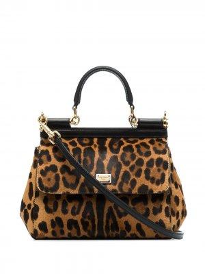 Маленькая сумка-тоут Sicily с леопардовым принтом Dolce & Gabbana. Цвет: коричневый
