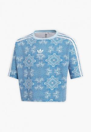 Футболка adidas Originals CC 3STRIPES TEE. Цвет: голубой