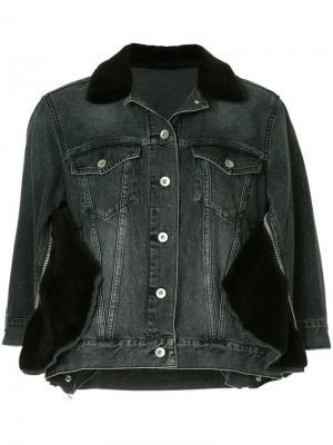 Джинсовая куртка на пуговицах Sacai. Цвет: серый