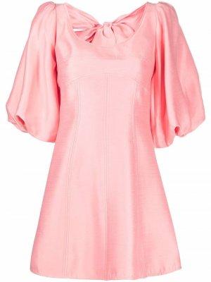 Платье мини с пышными рукавами CAMILLA AND MARC. Цвет: розовый