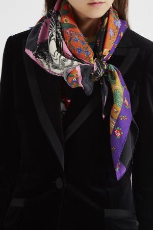 Шелковый платок с комбинированным принтом Gucci. Цвет: multicolor