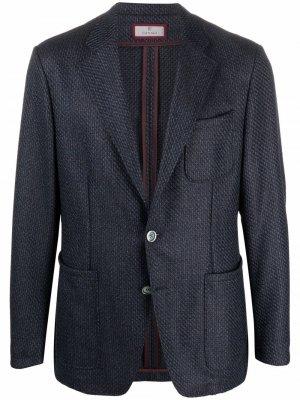 Твидовый однобортный пиджак Canali. Цвет: синий