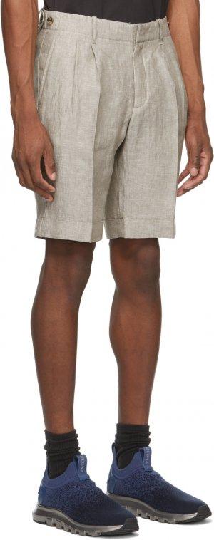 Grey Linen Yarn-Dyed Bermuda Shorts Z Zegna. Цвет: n92 grey