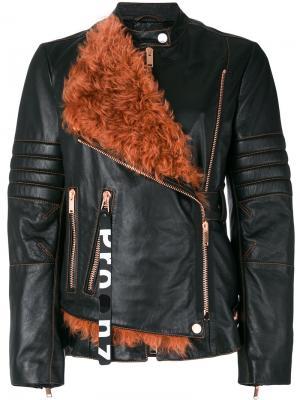 Кожаная мотоциклетная куртка с поясом и панелью из овчины Proenza Schouler. Цвет: чёрный