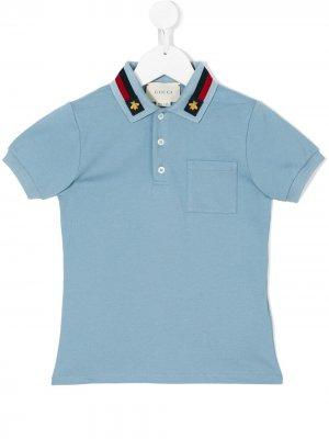 Рубашка-поло с заплаткой пчелой Gucci Kids. Цвет: синий