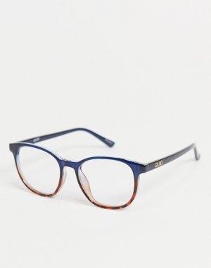 Круглые очки в стиле унисекс с черепаховой оправой темно-синего цвета и стеклами защитой от синего света Quay Blueprint-Темно-синий Australia