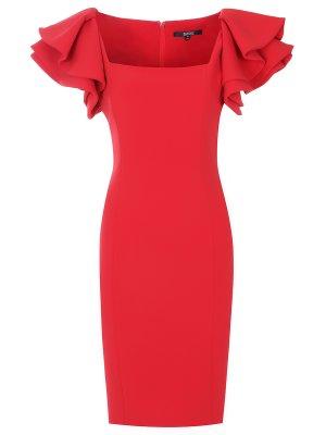 Коктейльное платье с оборками Badgley Mischka. Цвет: красный