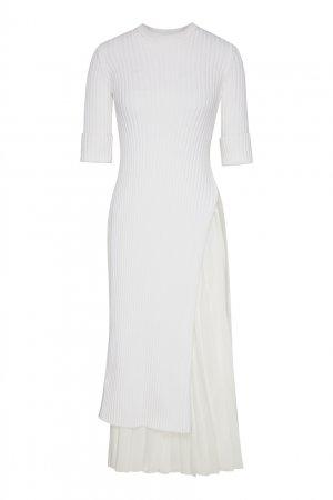 Белое платье с плиссированной вставкой No.21. Цвет: белый
