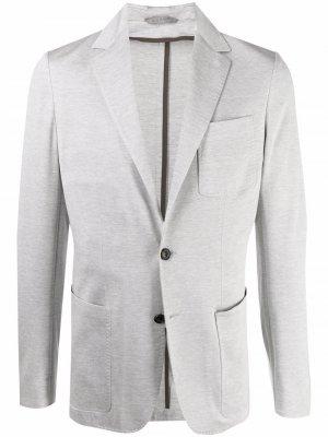 Пиджак узкого кроя Canali. Цвет: серый
