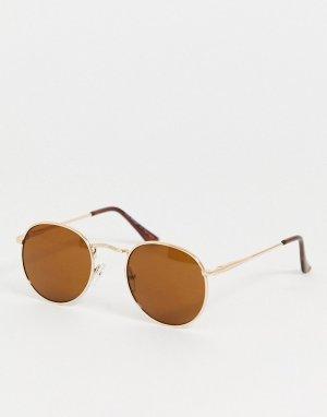 Золотистые круглые солнцезащитные очки -Золотой AJ Morgan