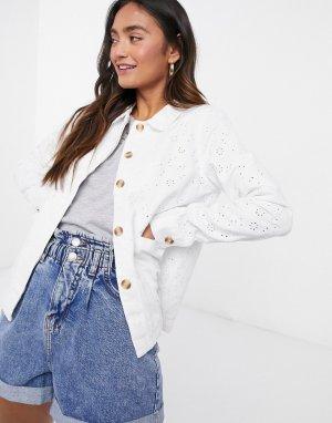 Белая джинсовая куртка свободного кроя с вышивкой ришелье -Белый Vero Moda