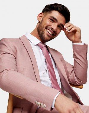 Розовый супероблегающий однобортный пиджак -Розовый цвет Topman