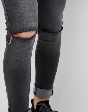 Рваные джинсы скинни -Синий Criminal Damage
